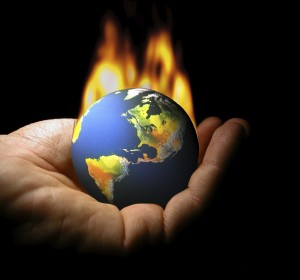 climate-change burning globe